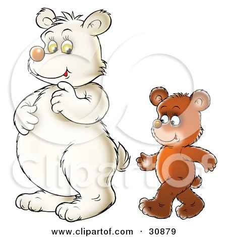 Clipart Illustration of a Brown Bear Cub Walking Upright Behind A Polar Bear by Alex Bannykh