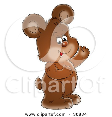 Clipart Illustration of an Adorable Brown Bear Cub Smiling And Waving by Alex Bannykh
