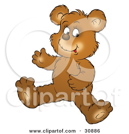 Clipart Illustration of a Happy Bear Cub Seated On The Floor by Alex Bannykh