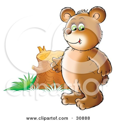 Clipart Illustration of a Chubby Bear Cub Standing By A Tree Stump, Symbolizing Deforestation And Loss Of Habitat by Alex Bannykh