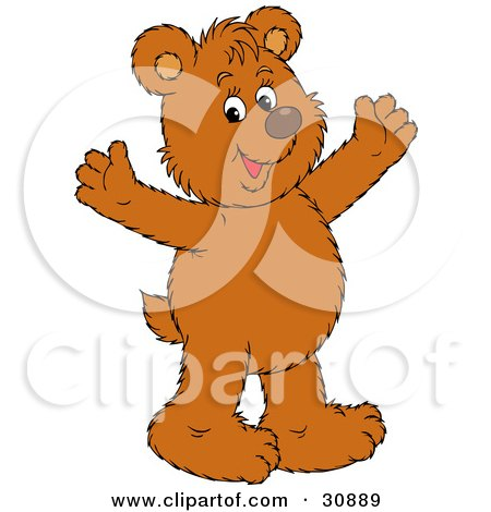 Clipart Illustration of a Joyous Bear Cub Smiling And Holding His Arms Out by Alex Bannykh