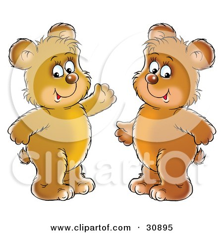 Clipart Illustration of Two Friendly Bear Cubs Smiling And Standing Side By Side by Alex Bannykh