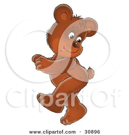 Clipart Illustration of a Cute Brown Bear Cub Doing A Happy Dance, Looking Back At His Tail by Alex Bannykh