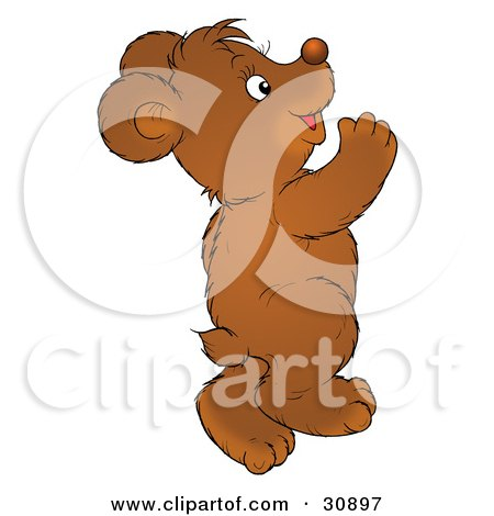 Clipart Illustration of a Happy Bear Cub Dancing And Having Fun by Alex Bannykh