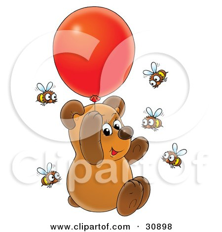 Clipart Illustration of a Cute Brown Bear Cub Floating Up Into The Air And Holding Onto A Red Helium Party Balloon, Surrounded By Curious Honey Bees by Alex Bannykh
