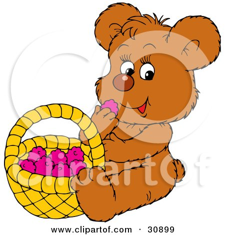 Clipart Illustration of a Cute Little Brown Bear Eating Healthy Snack; Raspberries From A Basket by Alex Bannykh