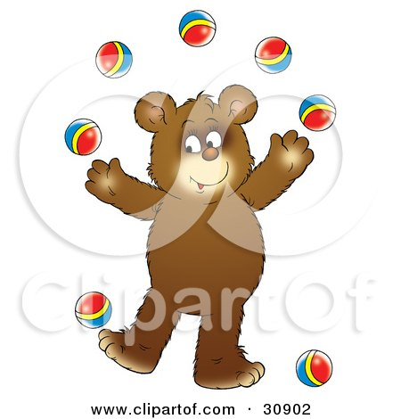 Clipart Illustration of a Bear Cub Smiling While Juggling Seven Colorful Balls by Alex Bannykh