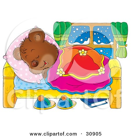 Clipart Illustration of a Bear Cub Hibernating In A Comfortable Bed And Sleeping On A Snowy Winter Night by Alex Bannykh