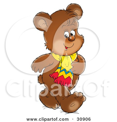 Clipart Illustration of a Happy Bear Cub Talking A Walk And Wearing A Scarf by Alex Bannykh