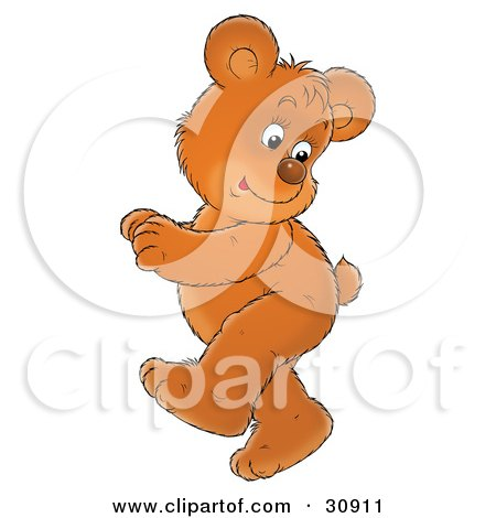 Clipart Illustration of an Energetic Bear Cub Looking Back At His Tail While Doing A Happy Dance by Alex Bannykh