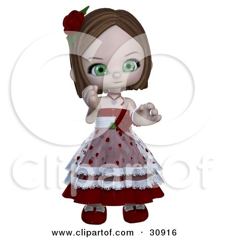 Clipart Illustration of a Realistic 3D Rendered Green Eyed Caucasian Valentine Girl in a Heart Dress With Roses by Anita Lee