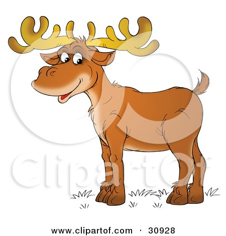Clipart Illustration of a Male Deer With Antlers, Standing In Profile And Smiling by Alex Bannykh