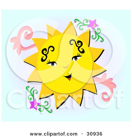 yellow sun character with tattoos, smiling in a sky with purple stars.