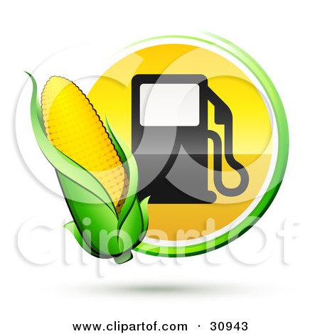 Clipart Illustration of an Ear Of Golden Corn Over A Green And Yellow Button With A Fuel Pump by beboy