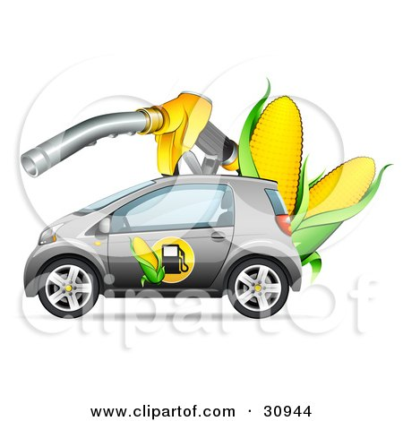 Clipart Illustration of a Silver Compact Car With A Corn Biofuel Label On The Door, Under A Giant Gas Nozzle With Ears Of Corn by beboy
