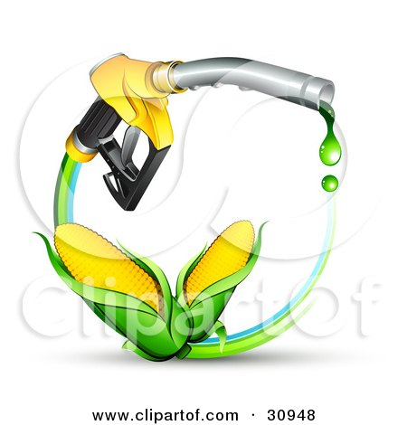 Clipart Illustration of Two Ears Of Golden Corn On A Blue And Green Circle Under A Dripping Yellow Gas Nozzle by beboy