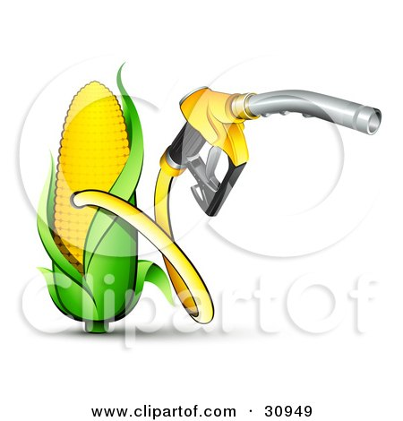 Clipart Illustration of a Yellow Gas Nozzle Emerging From A Yellow Corn Biofuel Pump by beboy