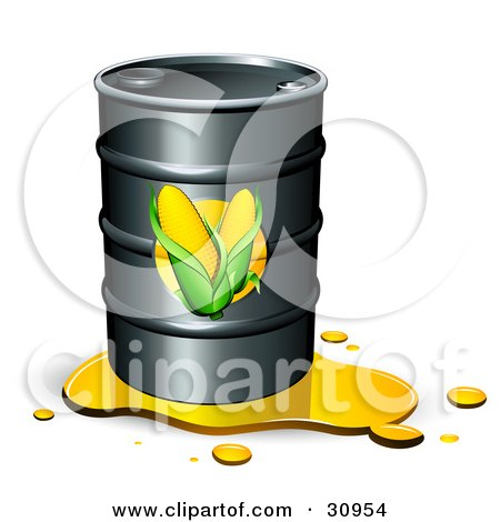 Clipart Illustration of a Leaking Barrel Of Ethanol Fuel With Corn Labels On The Front by beboy