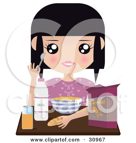 Clipart Illustration of a Black Haired Girl Seated At A Table With Milk, Juice, Bread And A Bowl Of Cereal by Melisende Vector