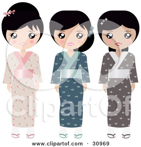Clipart Illustration of a Set Of Three Japanese Paper Doll Women In Pink, Blue And Brown Kimonos And Slippers by Melisende Vector