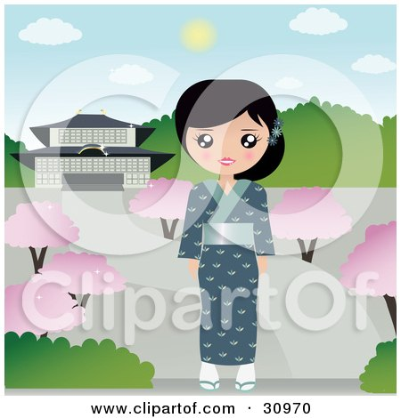 Clipart Illustration of a Pretty Japanese Woman Wearing A Blue Kimono And Slippers, Standing On A Path In A Park With Blossoming Trees by Melisende Vector
