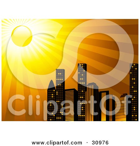 Clipart Illustration Of The Sun Shining Brightly Over A City Skyline Of Tall Skyscraper Buildings