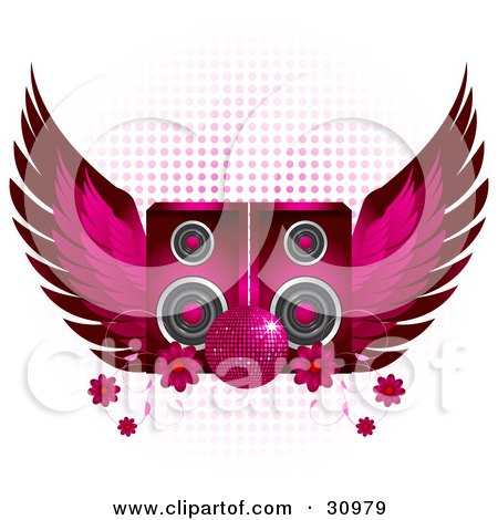 Clipart Illustration of a Sparkling Pink Disco Ball In Front Of Two Pink Speakers With Wings And Flowers On A White Background With Gradient Dots by elaineitalia