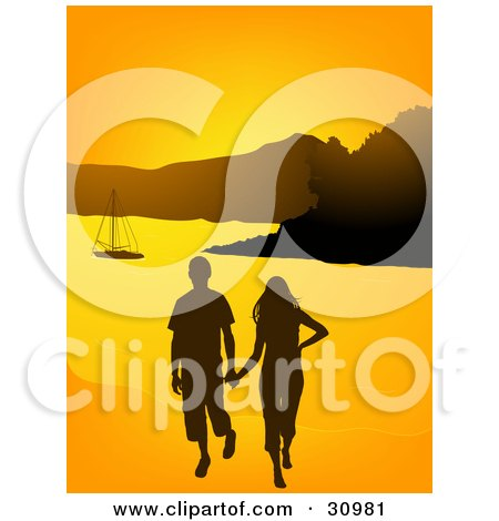 Clipart Illustration of a Young Couple Walking On A Beach And Holding Hands, A Sailboat In The Distance, Silhouetted Against An Orange Sunset by elaineitalia