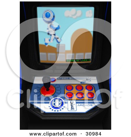 Clipart Illustration of a Blue Pixelated AO-Maru Robot Leaping Over Obstacles On The Screen Of An Arcade Game by Leo Blanchette