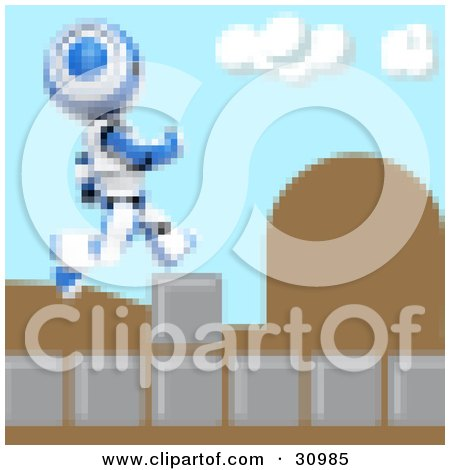 Clipart Illustration of a Blue Pixelated AO-Maru Robot Leaping Over Obstacles On A Video Game Screen by Leo Blanchette