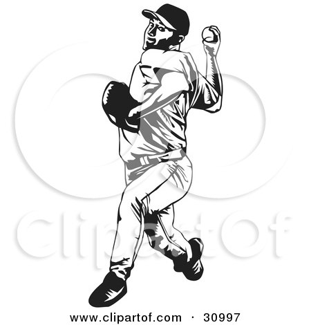 Clipart Illustration of a Black And White Baseball Player Pitching A Ball by David Rey