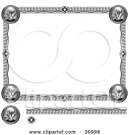 Black And White Diploma With An Aztec Design Posters, Art Prints