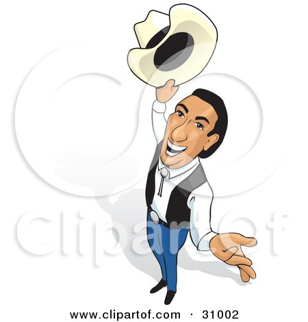 Clipart Illustration of a Friendly Cowboy Holding His Hat Out, Looking Up And Smiling by David Rey