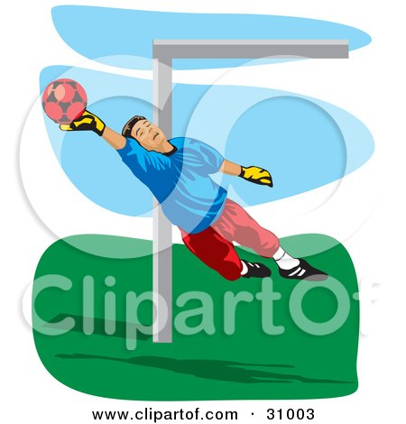 Clipart Illustration of an Association Football Goalkeeper Blocking A Ball by David Rey