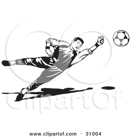 Clipart Illustration of a Goaltender Diving To Block A Ball, Black And White by David Rey