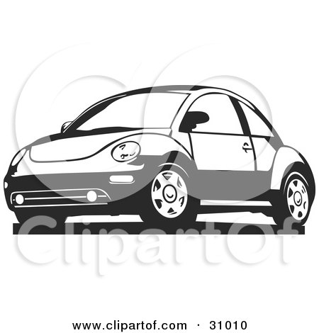 Clipart Illustration of a Black And White Slug Bug Car by David Rey