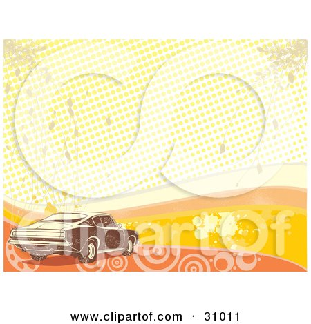 Clipart Illustration of a Brown Muscle Car Over A Grunge Background Of Orange And Yellow Waves, Grunge, Circles, Dots And Splatters by David Rey