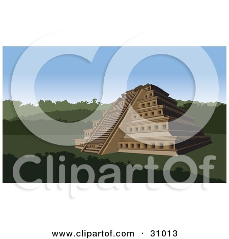 Clipart Illustration of the Nichos Pyramid In Mexico, Surrounded By Lush Greenery by David Rey