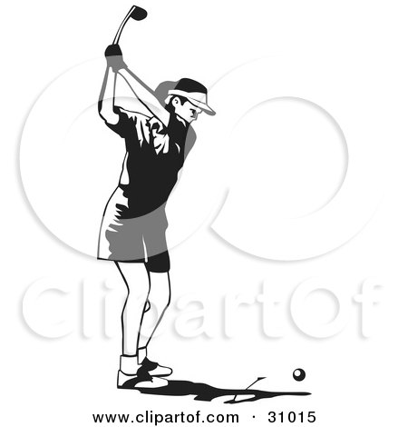 Clipart Illustration Of A Black And White Woman Holding A Golf Club Back While Preparing To Swing At A Ball By David Rey 31015