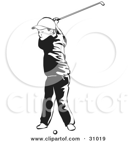 Clipart Illustration of a Little Boy Swinging A Golf Club While Taking Lessons, Black And White by David Rey