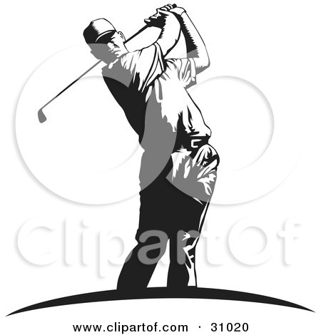 Clipart Illustration of a Black And White Man Swinging A Club While Golfing by David Rey
