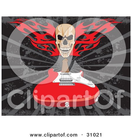 Clipart Illustration of a Skull With Red Flames Over A Red Electric Guitar On A Gray And Black Background by David Rey