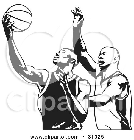 Clipart Illustration of Two Men Playing Basketball, One Trying To Steal The Ball From The Other, In Black And White by David Rey