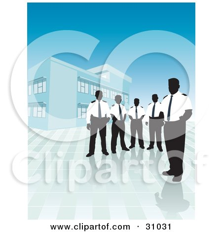 Clipart Illustration of a Group Of Silhouetted Male Security Guards In Uniforms, Standing Outside A Commercial Building by David Rey