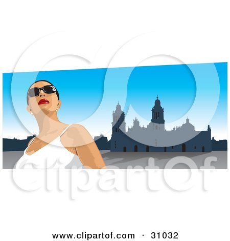 Female Tourist Wearing Shades, Looking Up And Standing In The Zocalo In Mexico City Posters, Art Prints