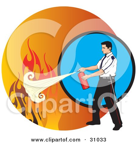 Clipart Illustration of a Man Calmly Extinguishing Flames With A Fire Extinguisher by David Rey