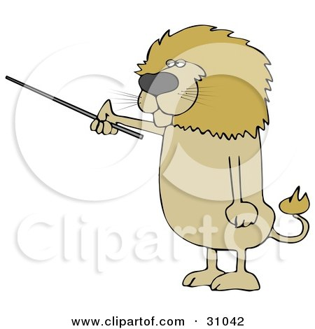 Clipart Illustration of a Male Lion Holding A Pointer Stick And Standing Up On His Hind Legs by djart