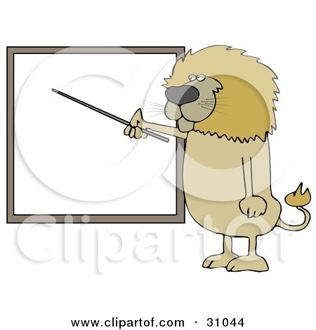 Clipart Illustration of a Male Lion Standing And Using A Pointer Stick To Discuss Rules On A Blank Board by djart