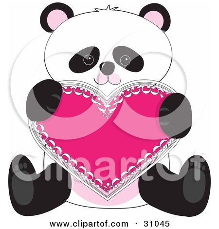 Clipart Illustration of a Romantic Panda Sitting And Holding A Pink Heart Valentine by Maria Bell