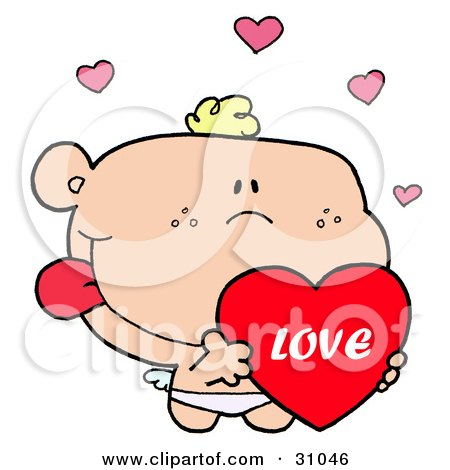 Clipart Illustration of a Romantic Cupid Flying With A Big Red Valentine And Pink Hearts by Hit Toon